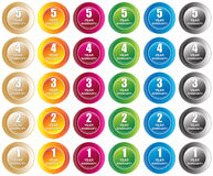 Year Warranty Buttons. Colorful buttons for 1,2,3,4 and 5 year warranty. Six deferent colors Stock Illustration