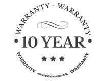 10 year warranty classic retro design icon. Illustration stock illustration