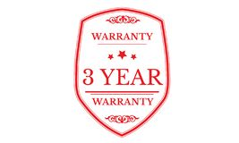 3 year warranty design,best black stamp. Illustration stock illustration