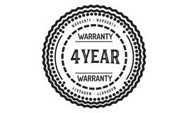 4 year warranty design classic,best black stamp. 4 year warranty design,best black stamp illustration royalty free illustration