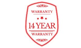 14 year warranty design,best black stamp. Illustration royalty free illustration