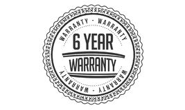 6 year warranty design,best black stamp. Illustration stock illustration
