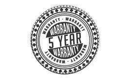 5 year warranty design,best black stamp. Illustration stock illustration