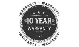 10 year warranty design,best black stamp. 10 year warranty design stamp badge icon stock illustration