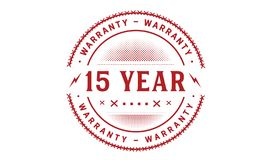 15 year warranty design classic,best black stamp. 15 year warranty design,best black stamp illustration stock illustration