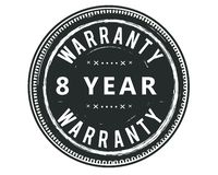 8 year warranty design stamp. Badge icon vector illustration