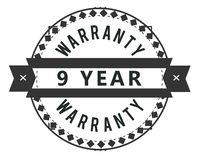 9 year warranty design stamp. Badge icon stock illustration