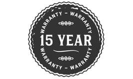 15 year warranty design stamp. Badge icon stock illustration
