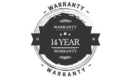 14 year warranty design stamp. Badge icon royalty free illustration