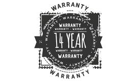 14 year warranty design stamp. Badge icon stock illustration