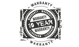 10 year warranty design stamp. Badge icon stock illustration