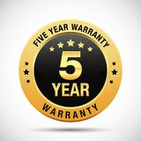 5 year warranty golden label isolated on white background. Use for your product, business, etc. Gold warranty label is scalable in EPS format Royalty Free Stock Images