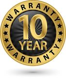 10 year warranty golden label, vector illustration. 10 year warranty golden label, vector Royalty Free Stock Photography
