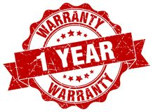 1 year warranty stamp. 1 year warranty grunge stamp on white background Stock Photos