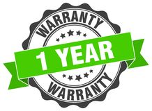 1 year warranty stamp. 1 year warranty grunge stamp on white background Stock Photography