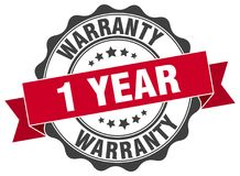 1 year warranty stamp. 1 year warranty grunge stamp on white background Stock Images
