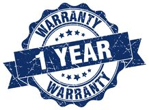 1 year warranty stamp. 1 year warranty grunge stamp on white background Royalty Free Stock Images