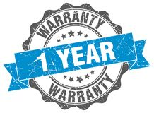 1 year warranty stamp. 1 year warranty grunge stamp on white background Stock Image