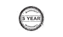 5 year warranty icon. 5 year Warranty black stamp icon vector illustration