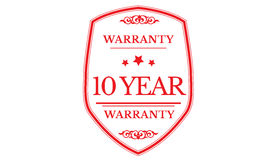 10 year warranty icon. 10 year Warranty black stamp icon stock illustration