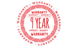 9 year Warranty icon. Black stamp royalty free illustration
