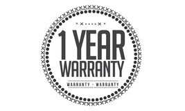 1 year warranty icon. 1 year Warranty black stamp icon royalty free illustration