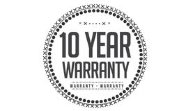 10 year warranty icon. 10 year Warranty black stamp icon royalty free illustration