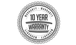 10 year Warranty icon. Black stamp royalty free illustration