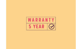 5 year warranty. Icon grunge vintage retro rubber stamp Stock Photo