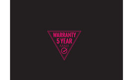 5 year warranty. Icon grunge vintage retro rubber stamp Stock Images