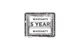 5 year warranty. Icon grunge vintage retro rubber stamp Royalty Free Stock Photo
