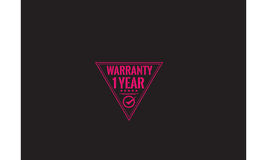 1 year warranty. Icon grunge vintage retro rubber stamp royalty free illustration
