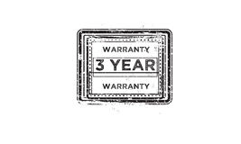 3 year warranty. Icon grunge vintage retro rubber stamp stock illustration