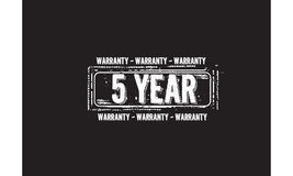 5 year warranty. Icon grunge vintage retro rubber stamp Royalty Free Stock Photography