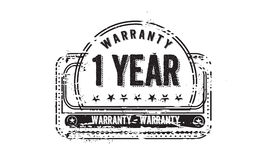1 year warranty. Icon grunge vintage retro rubber stamp stock illustration