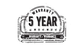 5 year warranty. Icon grunge vintage retro rubber stamp Stock Image