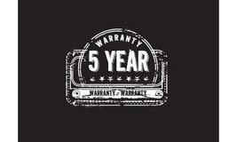 5 year warranty. Icon grunge vintage retro rubber stamp stock illustration