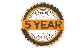 5 year warranty. Icon  retro stamp grunge vintage rubber Stock Image