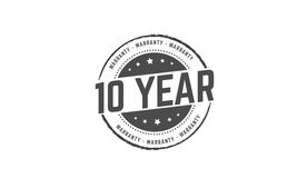 10 year warranty. Icon  retro stamp grunge vintage rubber Stock Images