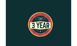 3 year warranty. Icon  retro stamp grunge vintage rubber Royalty Free Stock Photography