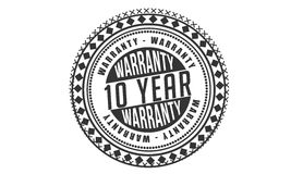 10 year Warranty icon. Stamp stock illustration