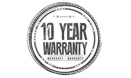 10 year Warranty icon. Vector black stamp stock illustration
