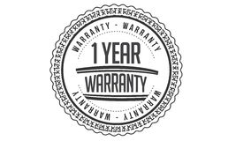 1 year Warranty icon. Vector black stamp royalty free illustration