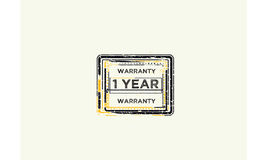 1 year warranty icon. Vintage rubber stamp vector illustration