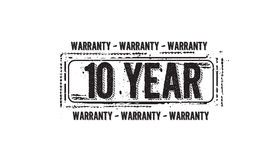 10 year warranty icon. Vintage rubber stamp vector illustration