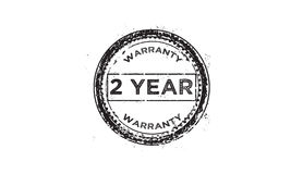 2 year warranty icon. Vintage rubber stamp vector illustration