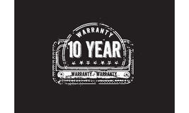 10 year warranty icon. Vintage rubber stamp stock illustration
