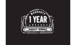 1 year warranty icon. Vintage rubber stamp royalty free illustration