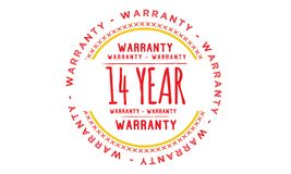 14 year warranty illustration design. Stamp badge icon royalty free illustration