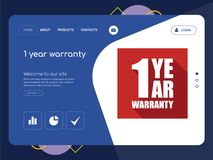 1 year warranty Landing page website template design. Quality One Page 1 year warranty Website Template Vector Eps, Modern Web Design with flat UI elements and Royalty Free Stock Images